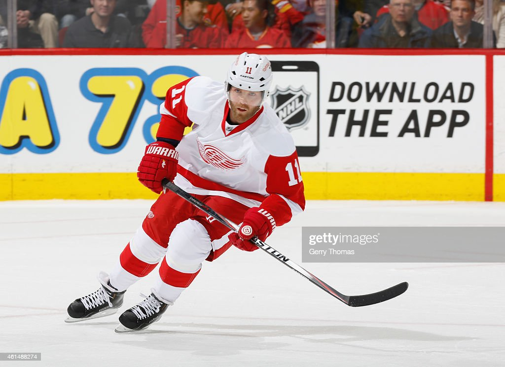 Daniel Cleary of the Detroit Red Wings skates against the Calgary Flames at Scotiabank Saddledome on January 7 2015 in Calgary Alberta Canada
