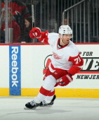 Daniel Cleary of the Detroit Red Wings skates against the New Jersey Devils at the Prudential Center on December 6 2013 in Newark New Jersey