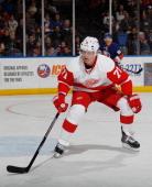 Daniel Cleary of the Detroit Red Wings skates against the New York Islanders at the Nassau Veterans Memorial Coliseum on November 29 2013 in...