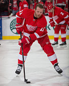 Daniel Cleary of the Detroit Red Wings skates in warmups prior to the NHL game against the Dallas Stars on December 4 2014 at Joe Louis Arena in...