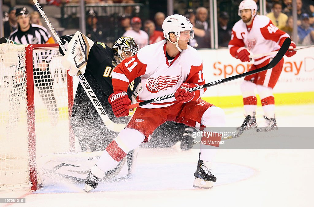 <a gi-track='captionPersonalityLinkClicked' href=/galleries/search?phrase=Daniel+Cleary&family=editorial&specificpeople=220490 ng-click='$event.stopPropagation()'>Daniel Cleary</a> #11 of the Detroit Red Wings skates into the crease during play against the Dallas Stars at American Airlines Center on April 27, 2013 in Dallas, Texas.