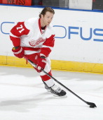 Daniel Cleary of the Detroit Red Wings skates prior to the game against the Florida Panthers at the BBT Center on December 10 2013 in Sunrise Florida...