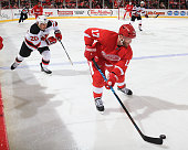Daniel Cleary of the Detroit Red Wings skates up ice in front of Jordin Tootoo of the New Jersey Devils during a NHL game on November 7 2014 at Joe...