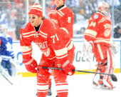 Daniel Cleary of the Detroit Red Wings takes the ice for warmups before the Bridgestone NHL Winter Classic against the Toronto Maple Leafs on January...