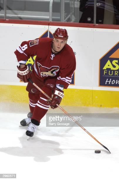 Daniel Cleary of the Phoenix Coyotes looks to make a pass against the Los Angeles Kings on December 31 2003 at Glendale Arena in Glendale Arizona The...