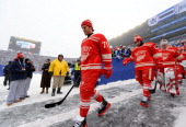 Daniel Cleary Patrick Eaves backup goaltender Petr Mrazek and their Detroit Red Wings teammates walk to the ice surface for warmup during the 2014...
