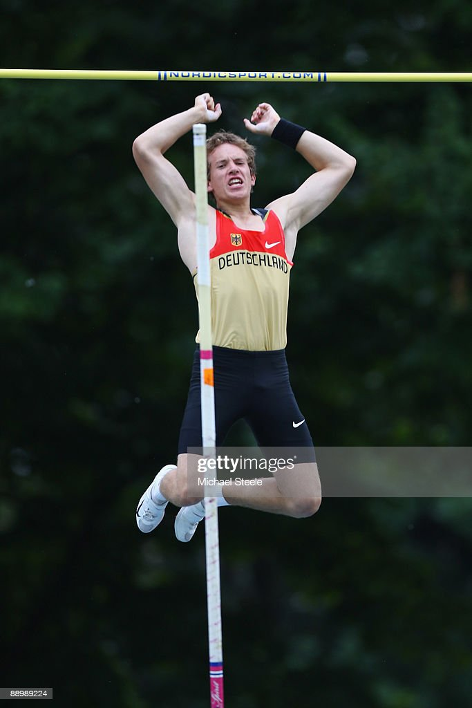 Daniel Clemens of Germany on his way to bronze in the boy's pole vault final during day five of the Iaaf World Youth Championships at the Bressanone Sports Complex on July 12, 2009 in Brixone Bressanone, Italy.