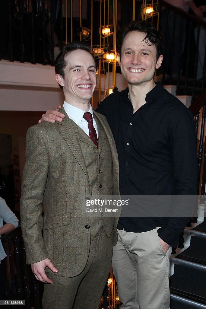 Daniel Collins and Tim Hodges attend the press night after party for 'Jekyll Hyde' at The Old Vic Theatre on May 25 2016 in London England