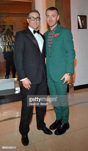 Daniel Compton and Sam Smith attend Harper's Bazaar Women of the Year Awards 2017 Sponsored by Audemars Piguet on November 2 2017 in London England