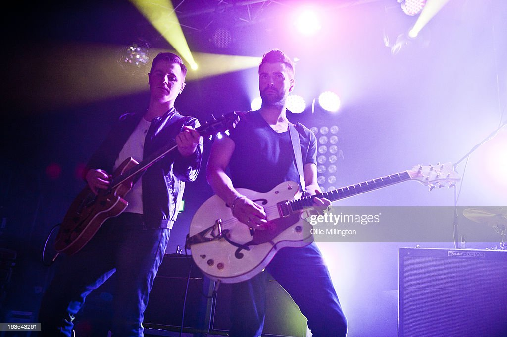 Daniel 'Conan' Craig Moores and Liam Fray of The Courteeners perform during a date of the band's February and March 2013 UK tour on stage at the O2 Academy on March 11, 2013 in Leicester, England.