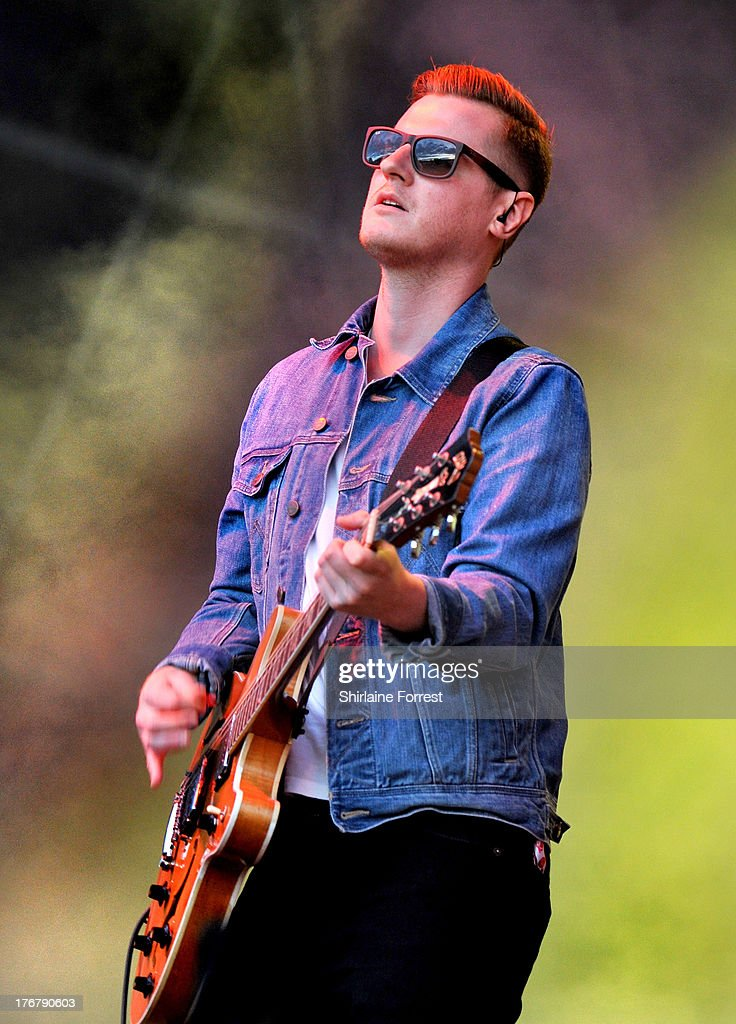 Daniel 'Conan' Moores of The Courteeners performs on day 2 of the V Festival at Weston Park on August 18, 2013 in Stafford, England.