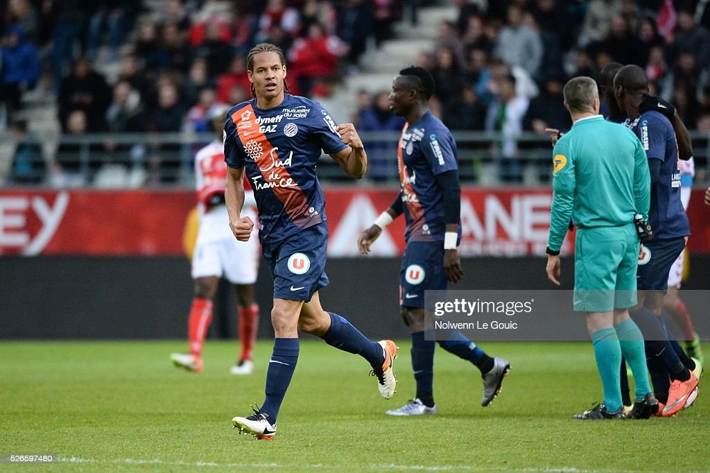 Daniel Congre of Montpellier celebrates his goal during the French Ligue 1 match between Stade de Reims and Montpellier Herault SC at Stade Auguste Delaune on April 30, 2016 in Reims, France.