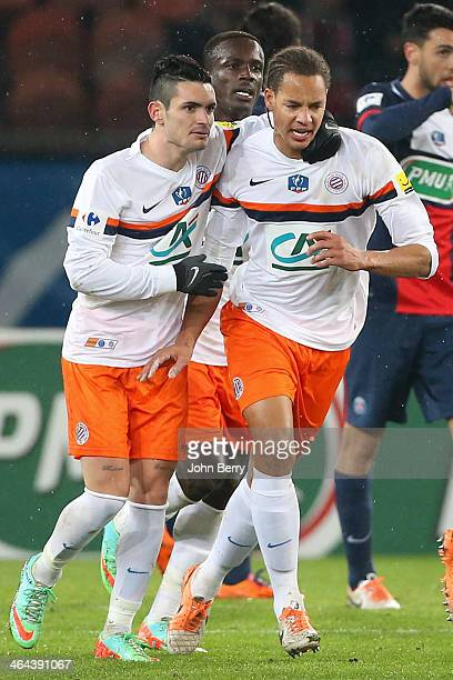 Daniel Congre of Montpellier celebrates his goal with his teammate Remy Cabella during the French Cup match between Paris SaintGermain FC and...