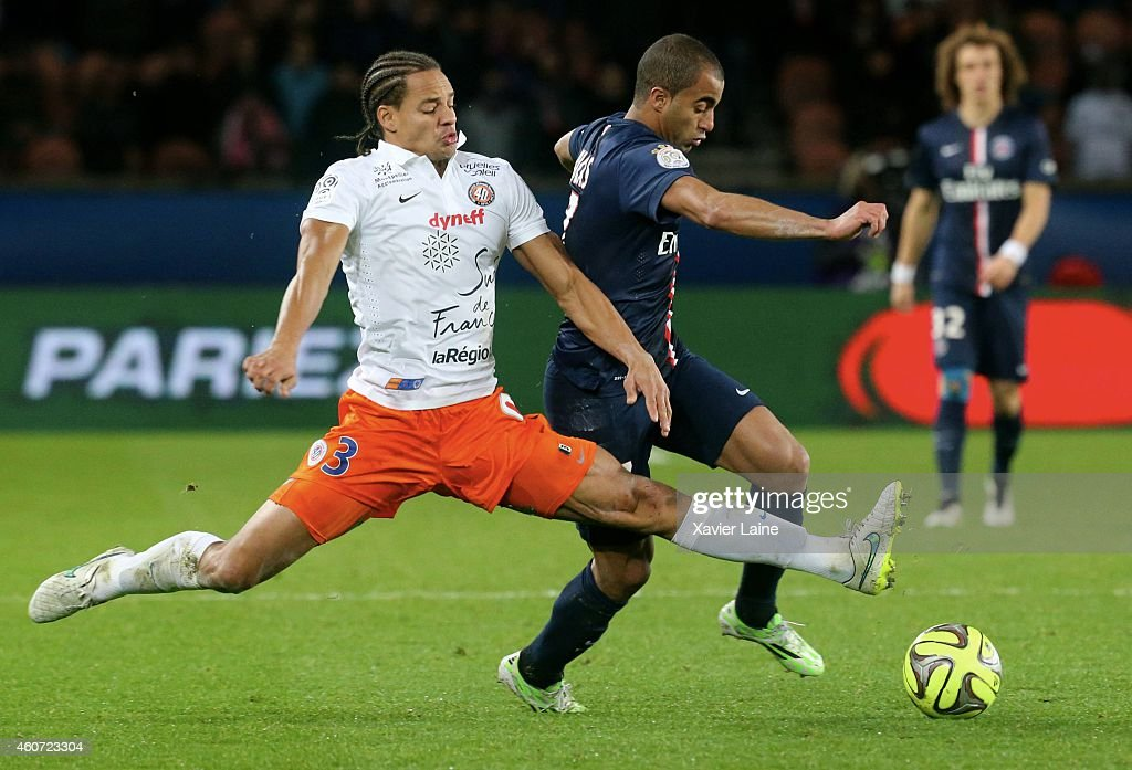 <a gi-track='captionPersonalityLinkClicked' href=/galleries/search?phrase=Daniel+Congre&family=editorial&specificpeople=2167788 ng-click='$event.stopPropagation()'>Daniel Congre</a> of Montpellier Herault SC and <a gi-track='captionPersonalityLinkClicked' href=/galleries/search?phrase=Lucas+Moura+-+Soccer+Midfielder+-+Born+1992&family=editorial&specificpeople=7910925 ng-click='$event.stopPropagation()'>Lucas Moura</a> of Paris Saint-Germain during the French Ligue 1 between Paris Saint-Germain FC and Montpellier Herault SC at Parc Des Princes on December 20, 2014 in Paris, France.