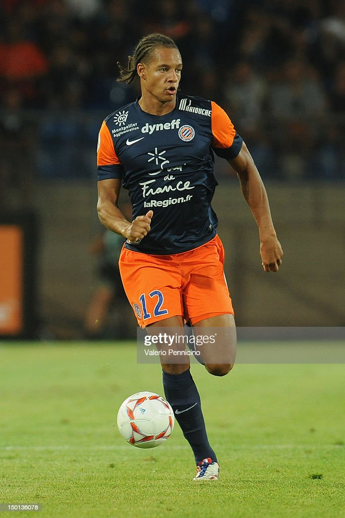 <a gi-track='captionPersonalityLinkClicked' href=/galleries/search?phrase=Daniel+Congre&family=editorial&specificpeople=2167788 ng-click='$event.stopPropagation()'>Daniel Congre</a> of Montpellier Herault SC in action during the Ligue 1 match between Montpellier Herault SC and Toulouse FC at Stade de la Mosson on August 10, 2012 in Montpellier, France.