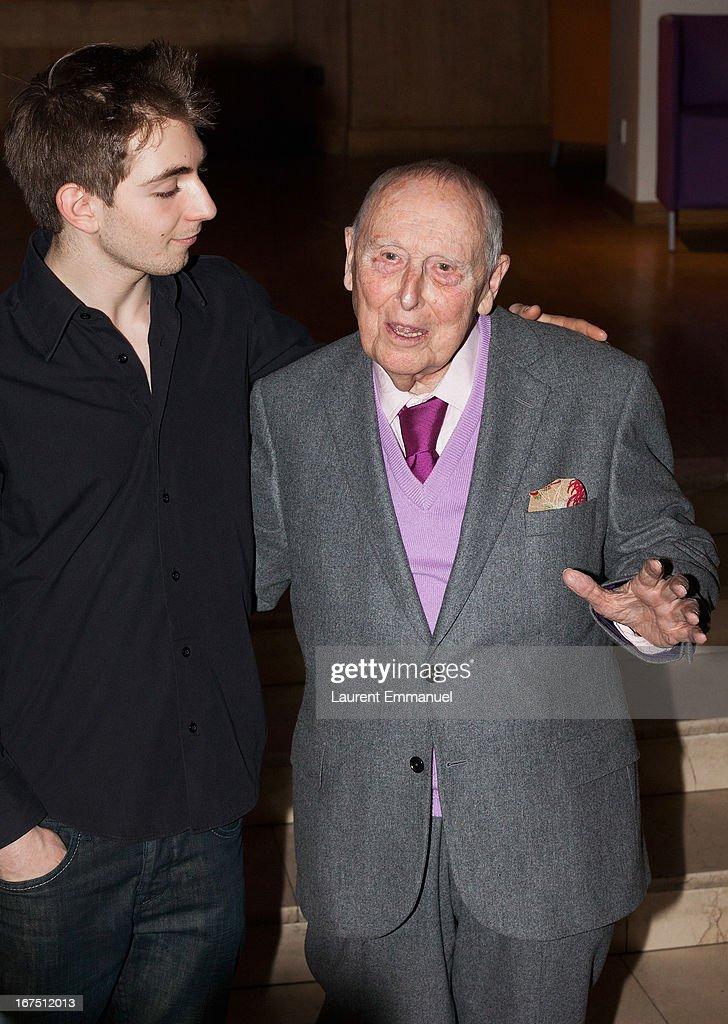 Daniel Cordier (R) and actor Jules Sadoughi attend 'Alias Caracalla' Paris Premiere at Cinema l'Arlequin on April 25, 2013 in Paris, France.