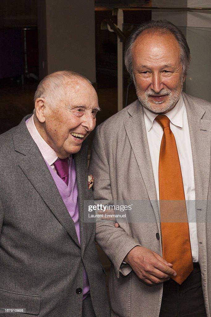 Daniel Cordier (L) and Jerome Clement attend 'Alias Caracalla' Paris Premiere at Cinema l'Arlequin on April 25, 2013 in Paris, France.