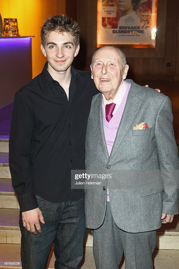 Daniel Cordier (L) and Jules Sadoughi attend 'Alias Caracalla' Paris Premiere at Cinema l'Arlequin on April 25, 2013 in Paris, France.