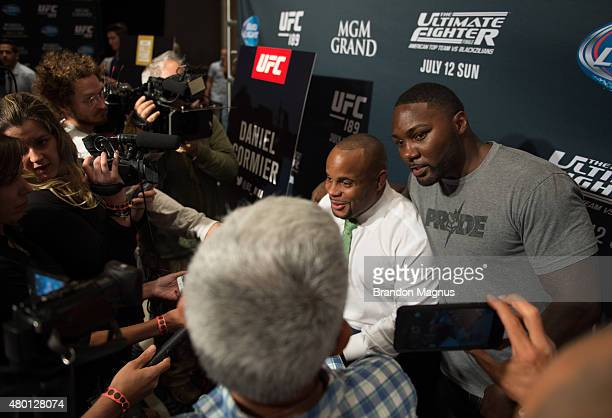 Daniel Cormier and Anthony Johnson speak to the media during the UFC International Fight Week Ultimate Media Day at MGM Grand Hotel Casino on July 9...