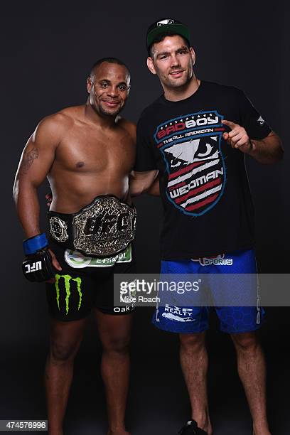Daniel Cormier and Chris Weidman pose for a portrait during the UFC 187 event at the MGM Grand Garden Arena on May 23 2015 in Las Vegas Nevada