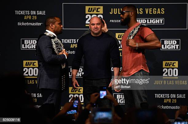 Daniel Cormier and Jon Jones face off during the UFC 200 New York press event at Madison Square Garden on April 27 2016 in New York City