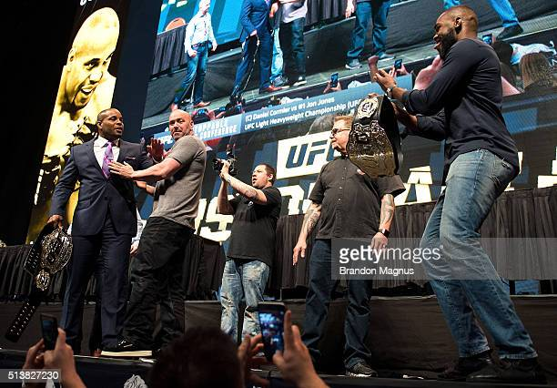 Daniel Cormier and Jon Jones face off during the UFC Unstoppable Launch Press Conference in the MGM Grand Garden Arena on March 4 2016 in Las Vegas...