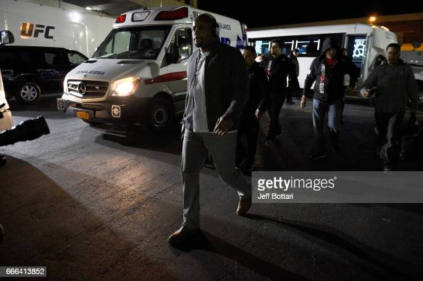 Daniel Cormier arrives backstage during the UFC 210 event at the KeyBank Center on April 8 2017 in Buffalo New York
