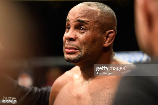Daniel Cormier speaks after being defeated by Jon Jones in their UFC light heavyweight championship bout during the UFC 214 event at Honda Center on...