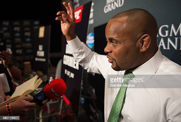 Daniel Cormier speaks to the media during the UFC International Fight Week Ultimate Media Day at MGM Grand Hotel Casino on July 9 2015 in Las Vegas...