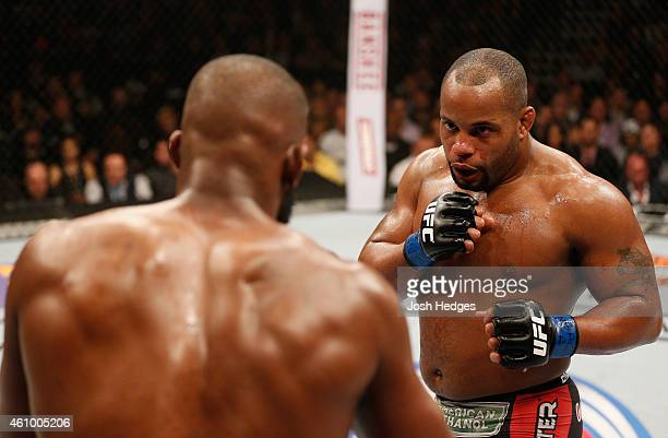 Daniel Cormier squares off against Jon Jones in their UFC light heavyweight championship bout during the UFC 182 event at the MGM Grand Garden Arena...