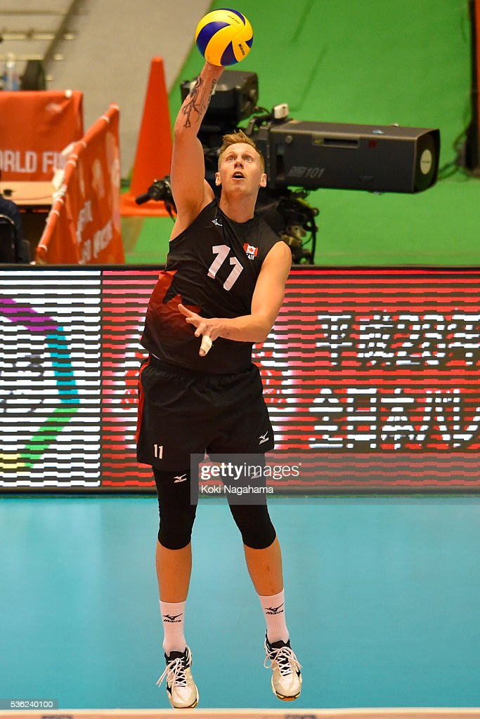 Daniel Cornelius Jansen Vandoorn #11 of Canada serves the ball during the Men's World Olympic Qualification game between Venezuela and Canada at Tokyo Metropolitan Gymnasium on June 1, 2016 in Tokyo, Japan.