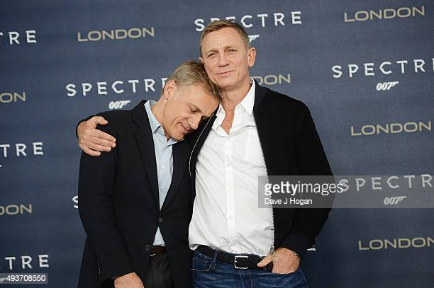Daniel Craig and Christoph Waltz attend a photocall for 'Spectre' at Corinthia Hotel London on October 22 2015 in London England