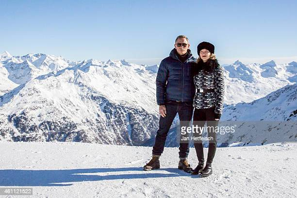 Daniel Craig and Lea Seydoux pose at the photo call for the 24th Bond film 'Spectre' at ski resort on January 7 2015 in Soelden Austria