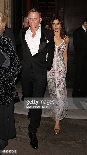 Daniel Craig and Rachel Weisz attending the Spectre Premiere after party at the British Museum on October 26 2015 in London England