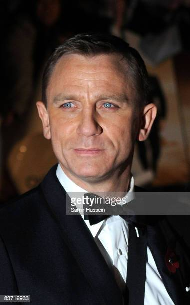 Daniel Craig arrives at the world premiere of the James Bond film 'Quantum of Solace' on October 29 2008 in Leicester Square London England