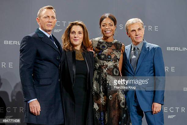 Daniel Craig Barbara Broccoli Naomie Harris and Christoph Waltz attends the Spectre' German Premiere on October 28 2015 in Berlin Germany