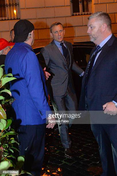 Daniel Craig is seen at dinner after the premiere of 'Spectre' on October 27 2015 in Rome Italy
