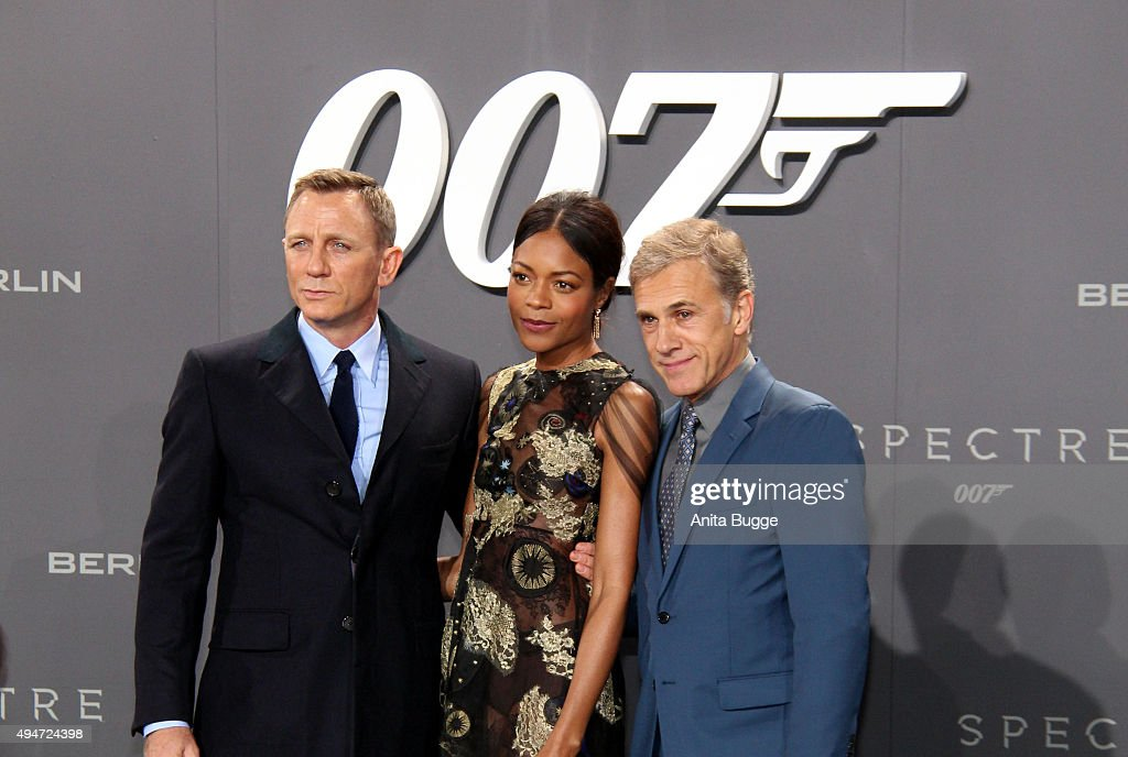 Daniel Craig, Naomie Harris and Christoph Waltz attend the 'Spectre' Germany premiere in on October 28, 2015 in Berlin, Germany.