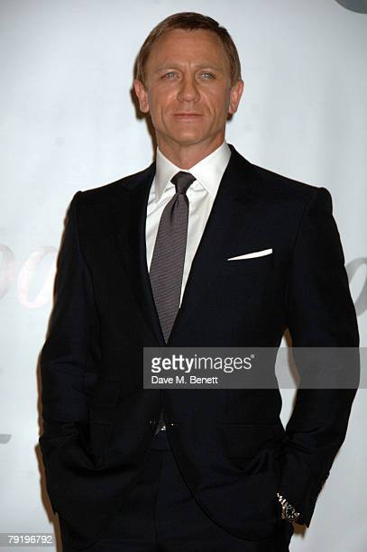 Daniel Craig poses for the 22nd James Bond movie 'Quantum of Solace' photocall held at Pinewood studios on January 24 2008 in London England