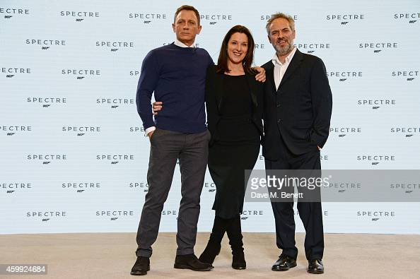 Daniel Craig producer Barbara Broccoli and director Sam Mendes attend a photocall with cast and filmmakers to mark the start of production which is...