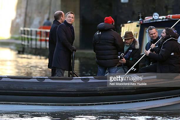 Daniel Craig seen filming the new Bond Movie in Camden Lock on December 16 2014 in London England