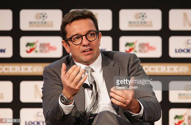 Daniel Cravo Cravo Pastl and Balbuena Senior Partner talks during day 2 of the Soccerex Global Convention 2016 at Manchester Central Convention...
