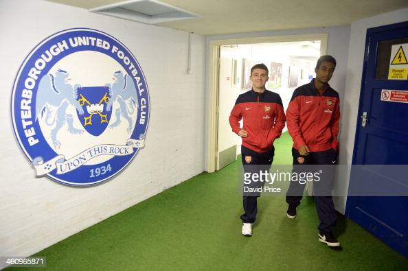 Daniel Crowley and Gedion Zelalem of Arsenal walk out to check out the pitch before the match between Peterborough United U18 and Arsenal U18 in the...
