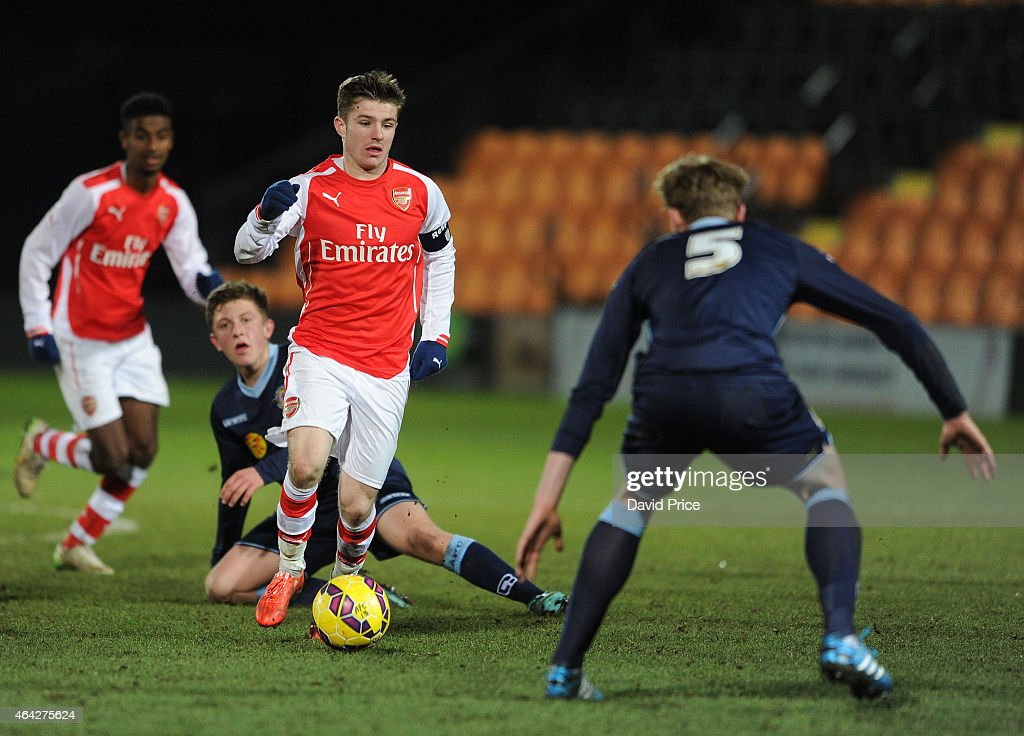 Daniel Crowley of Arsenal runs at Jon Moran of Crewe during the match between Arsenal U18 and Crewe Alexandra U18 in the FA Youth Cup 5th Round at...