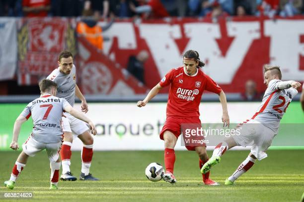 Daniel Crowley of Go Ahead Eagles Xandro Schenk of Go Ahead Eagles Enes Unal of FC Twente Marcel Ritzmaaier of Go Ahead Eaglesduring the Dutch...