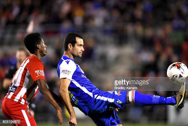 Daniel Cunha of the Power controls the ball during the FFA Cup round of 32 match between the Peninsula Power and Melbourne City FC at Dolphin Stadium...