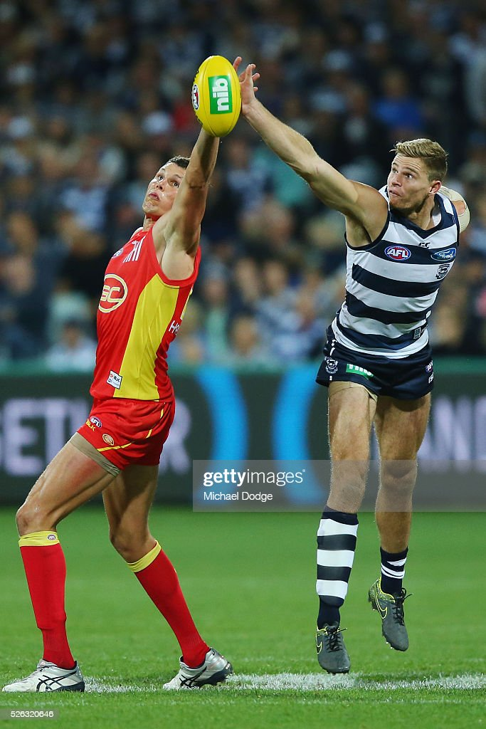 Daniel Currie of the Suns (L) and Rhys Stanley of the Cats compete for the ball during the round six AFL match between the Geelong Cats and the Gold Coast Suns at Simonds Stadium on April 30, 2016 in Geelong, Australia.