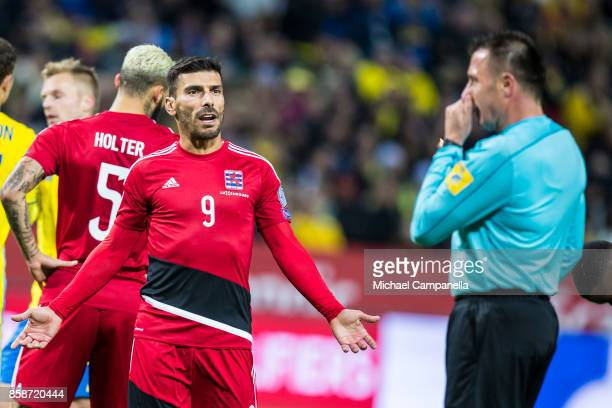 Daniel Da Mota of Luxembourg argues with Referee Huseyin Gocek after he awards Sweden a second penalty during the FIFA 2018 World Cup Qualifier...