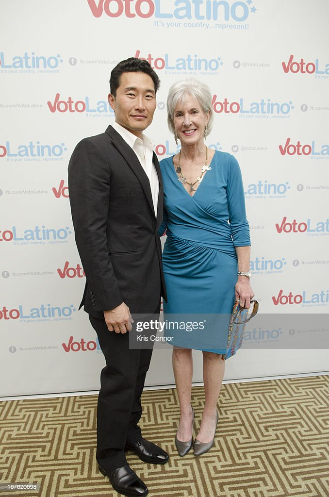 Daniel Dae Kim and Kathleen Sebelius pose for a photo during the 4th Annual Our Voices: Celebrating Diversity in Media reception to benefit Voto Latino at The Hay-Adams on April 26, 2013 in Washington, DC.