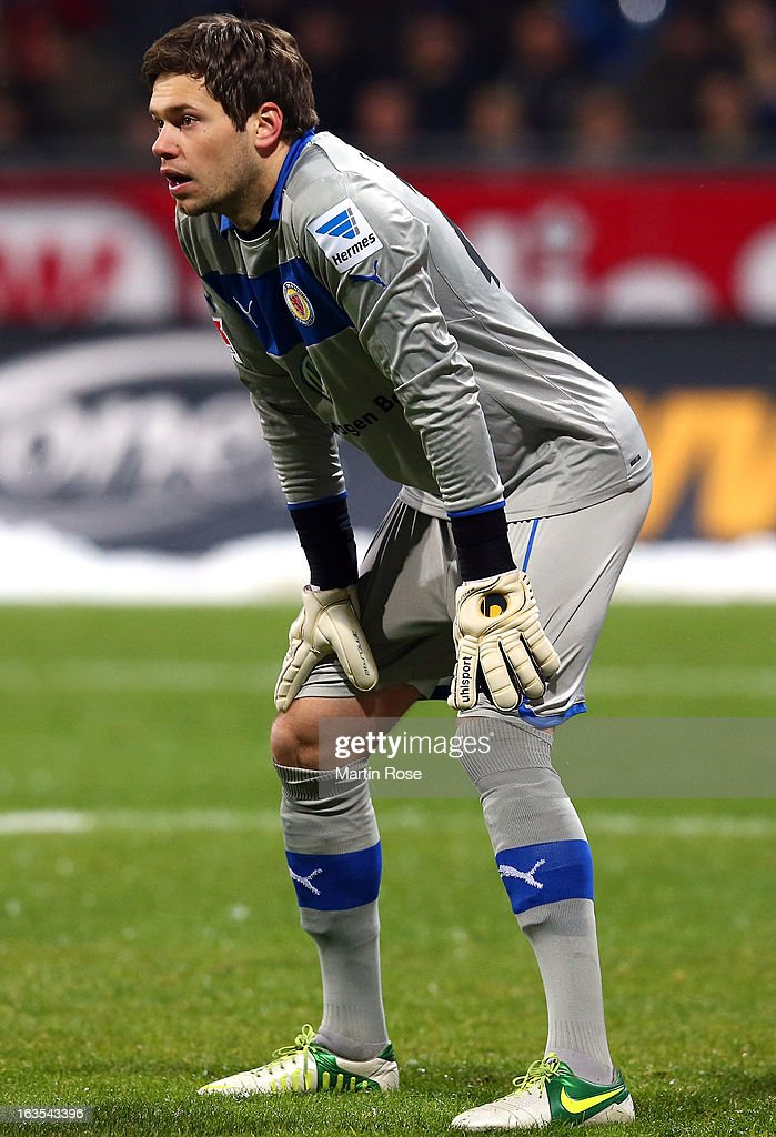 Daniel Davari, goalkeeper of Braunschweig looks on during the second Bundesliga match between Eintracht Braunschweig and 1. FC Kaiserslautern at Eintracht Stadium on March 11, 2013 in Braunschweig, Germany.